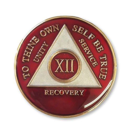 Triangle Triplate Anniversary Medallion Red