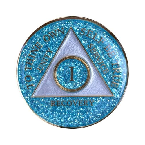 Aqua Glitter Circle Triangle Metallion