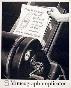 Mimeograph duplicator
