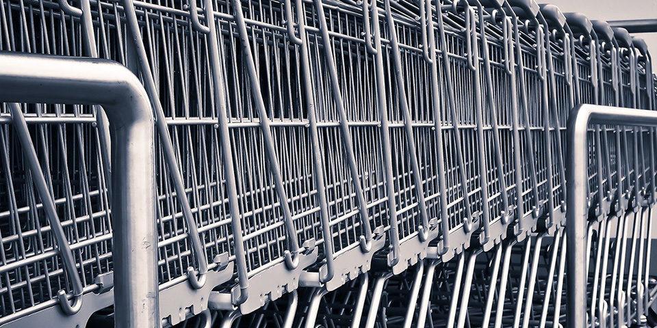 shopping cart in rack
